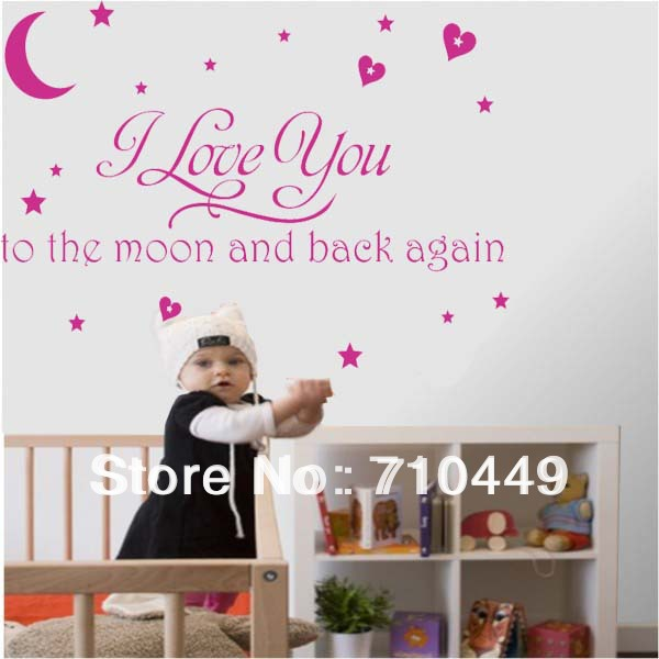 Stay with you i love you to the moon and back again quote vinyl