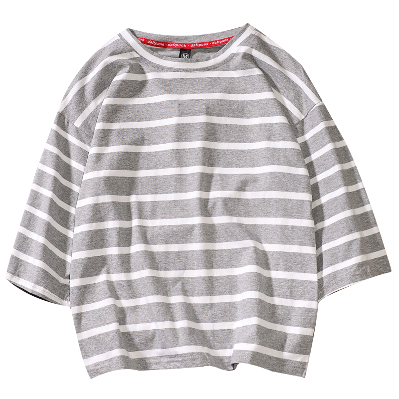 Spring Summer Men Fashion Brand Korea Style Ulzzang Chic Striped Sea Soul Three Quarter Sleeve T-shirt Male Casual Loose Tshirts 5