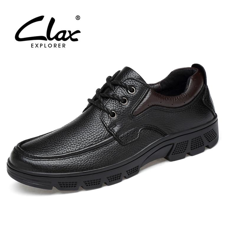 CLAX Men Formal Shoes Genuine Leather 2017 Autumn Black Dress Shoe Male Social Shoe Business Oxford Wedding Footwear цены онлайн