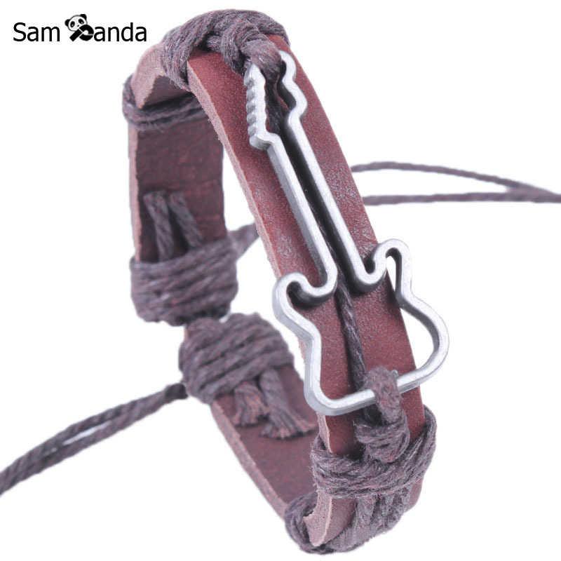Guitar البيع الغيتار الأساور الجلدية Vintage حبل التفاف حقيقي ضبط سوار و أساور للنساء الرجال المجوهرات هدية دروبشيبينغ