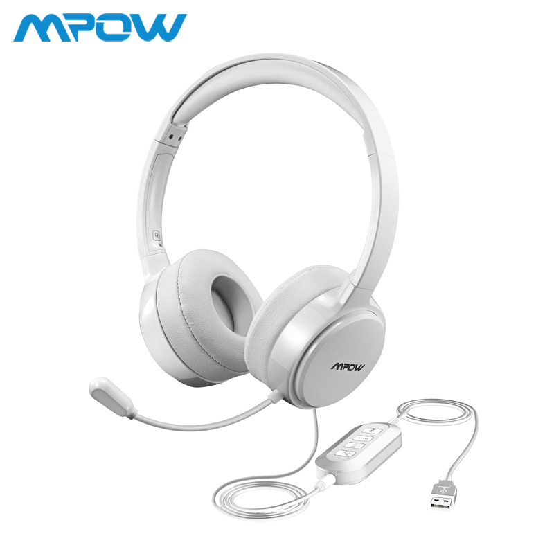 Mpow BH125 USB/3.5mm Plug Wired Headphones With Mic For Mac Skype Call Center PC Laptop Tablet Phones With Noise Reduction Card 1 2 pack mpow pro professional wireless bluetooth headphone with microphone 13h talking time for driver call center skype office