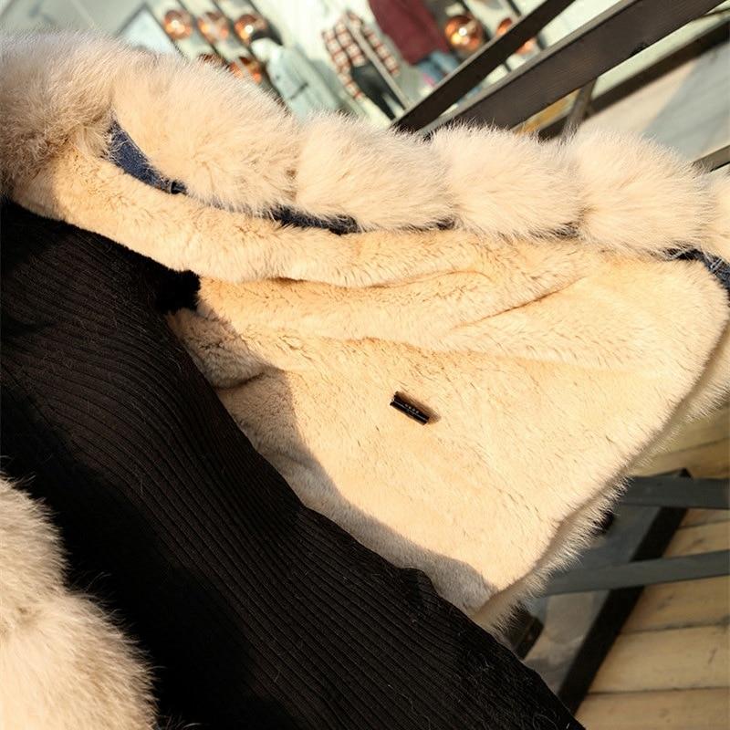 Rex Avec Parkas Manteau Naturel Chaud Fur Nouvelle Hiver Mode 2018 Fourrure Doublure Lapin Denim Blue Fur Réel De Renard Équilibre Fur gray Beige Russie Dame red Style Fur Fur pink coffee Brown Col IRtqn7nw