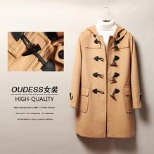 Cheap 2019 spring autumn wool coat women overcoat loose hooded Horn buckle casaco feminino jaqueta feminina manteau femme khaki