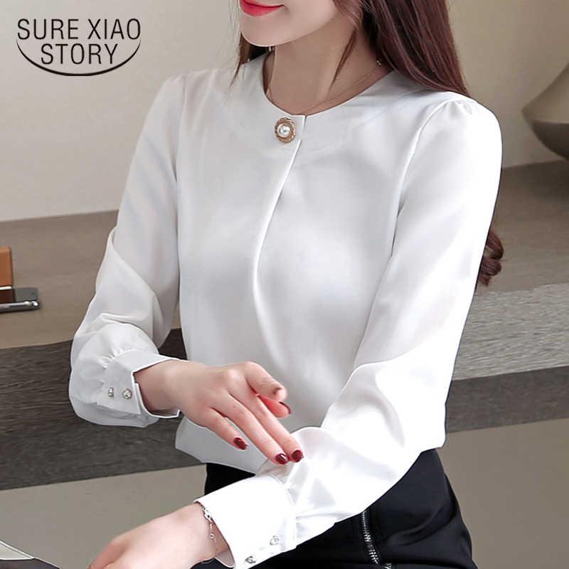 b6d9e2930c6 Модные женские топы и блузки шифоновая блузка рубашка с длинным рукавом Женские  рубашки Женская офисная блузка