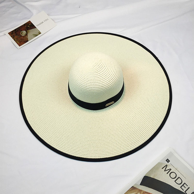 2016 New Summer Fashion Women's Ladies' Foldable Wide Large Brim Floppy Summer Sun Beach Hat Straw Hat Cap Drop Shipping