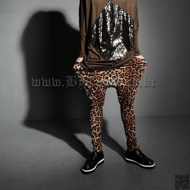 2017 New Fashion Men's Personality Leopard Pants Men Punk Runway Style Bloomers Male Pull Style Flexible Harem Pants