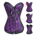 Hot Women Shapewear Sexy Corsage Basque Lace&Satin Purple Corset And Corselets Corselete Slimming Lace Up Overbust Bustier Top