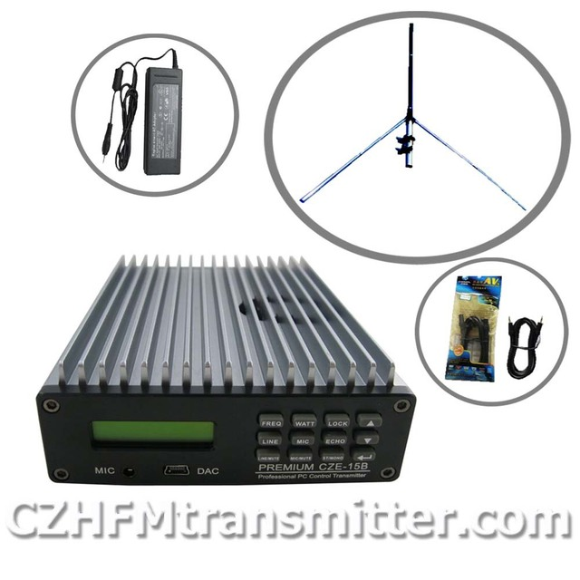 15W PREMIUM CZE-15B Professional PC Control FM Broadcast Transmitter Radio broadcast 1/4 GP antenna kit