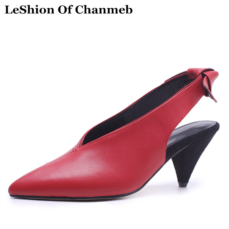 2018 Real Cow Leather Slingback Pumps For Women's Larger Size 43 Spike High Heels Party Shoes Red Sweet Bowtie Black White Pumps