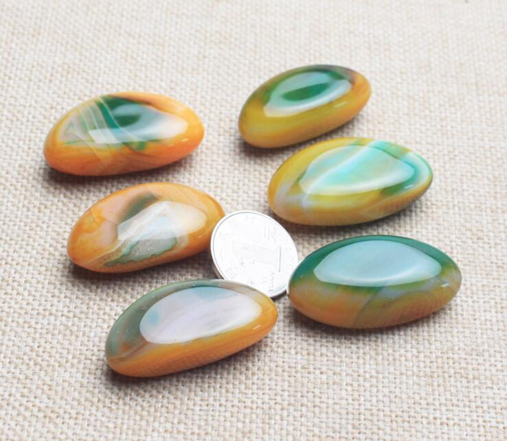 2pcs natural Oval Multi-color Onyx Agate Cab Cabochon Free shipping