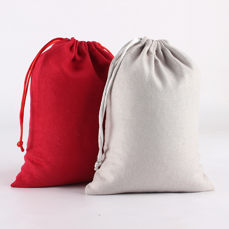 5pcs/lot 15*20cm Double Side Suede Bag Custom Logo Print Pouch Drawstring Bags For Jewelry Bracelet Necklace Wholesale Price