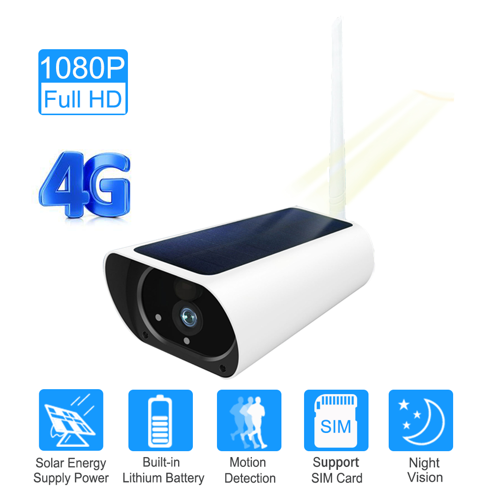SIM Card 3G 4G Solar Power Wifi Camera Battery 1080P Two Way Audio Security Outdoor Wireless