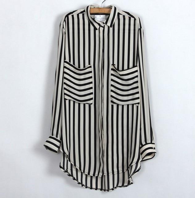 Blusas femeninas 2015 de la moda de las mujeres Casual camisas de la oficina negro Beige de la raya Vertical bolsillos blusa de la gasa Tops caliente