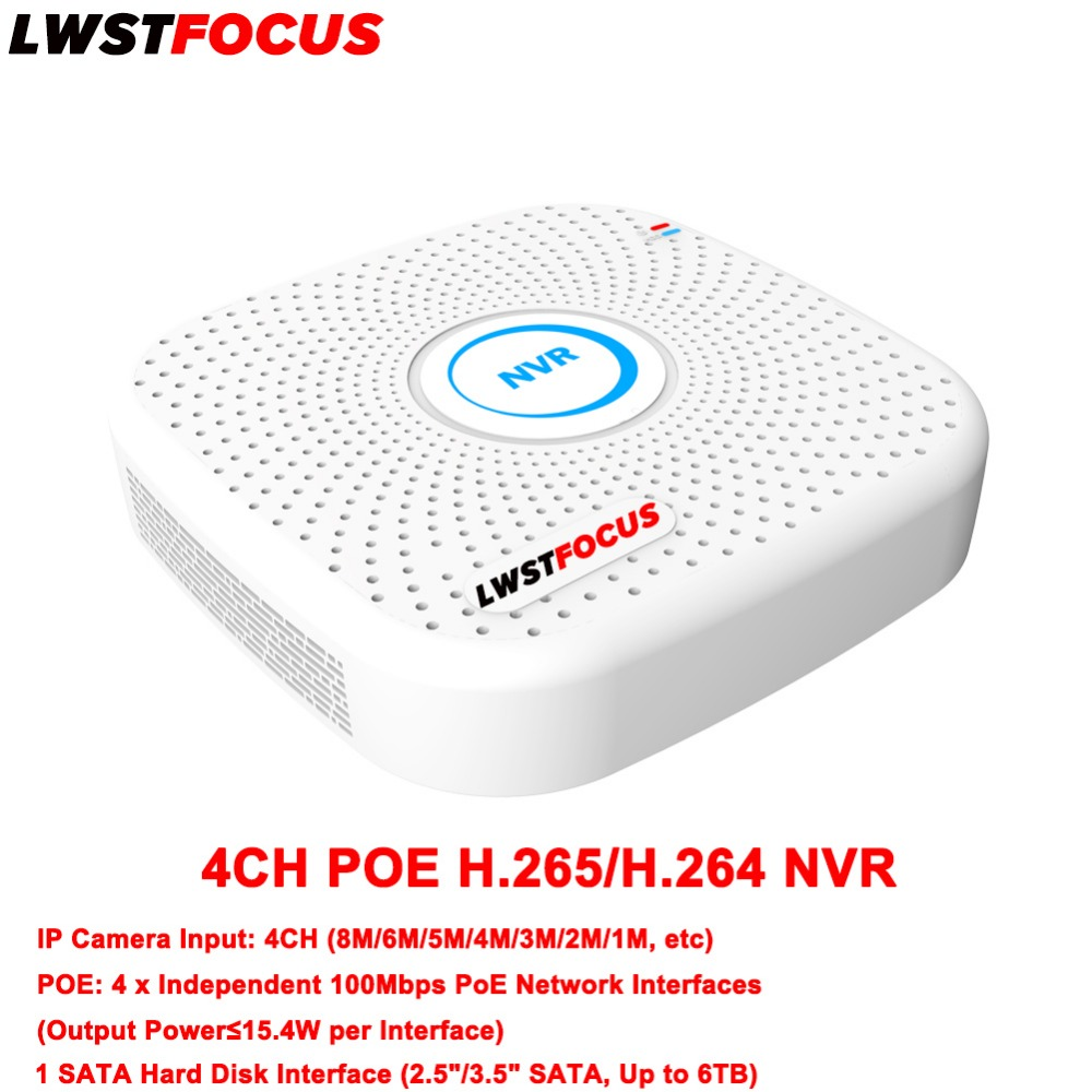 NVR Support LWSTFOCUS IP Camera Input 8MP 6MP 5MP 4MP 3MP 2MP 1MP NVR 4CH H.265/H.264 POE NVR HD CCTV IP Network Video Recorder