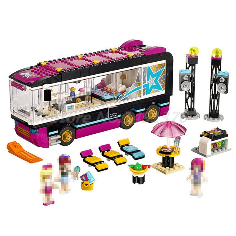 BELA 10407 Building Block Friends Pop Star Tour Bus 41106 Emma Mia Figure Educational Toys For Children Christmas Gifts