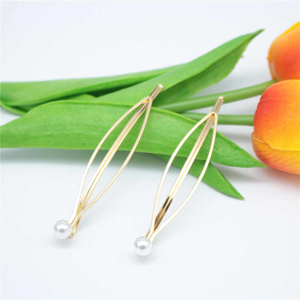 1 pcs Korea Chic Imitiation Pearl Hairpin Irregular Metal Gold Acrylic Hair Clips For Women Girls Hair Accessories New Arrival