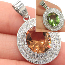 Fantastic Oval Gemstone Changing Color Spinel CZ Ladies Wedding Silver Pendant 30x18mm