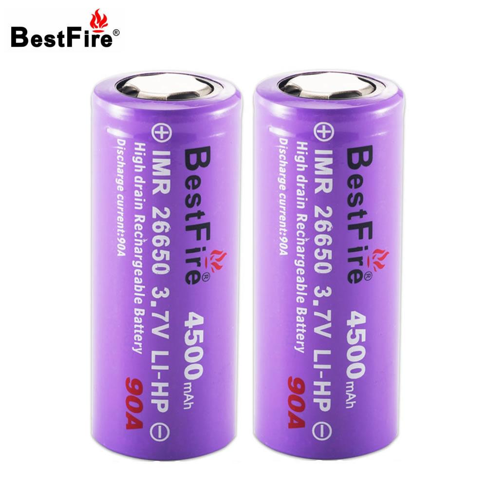 Bestfire 26650 Battery 3.7V Li-ion 4500mAh 90A Rechargeable Battery for E Cigarette Flashlight Led Torch Light 2pcs/lot