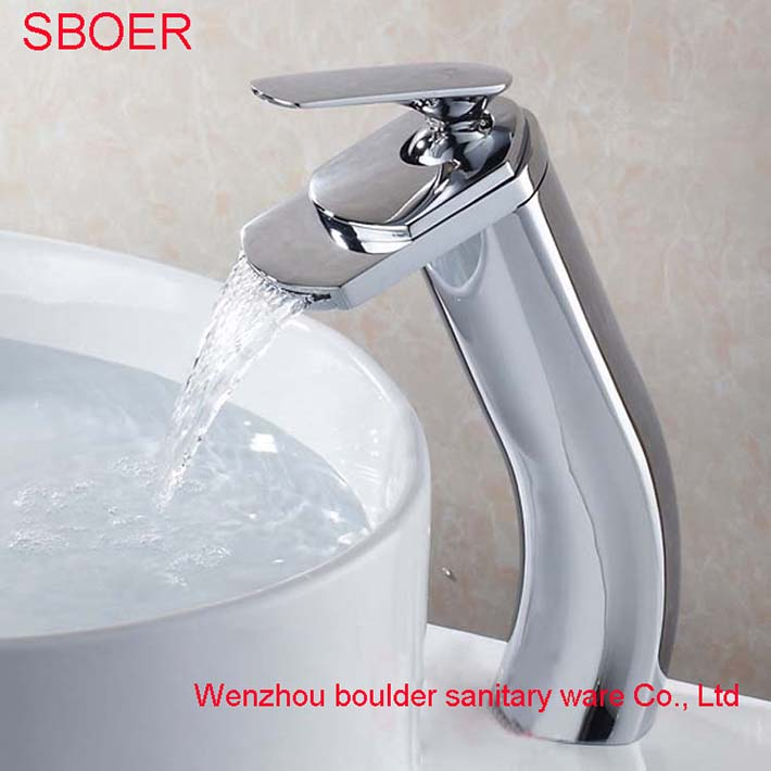 ФОТО New Modern Unique Shape Bathroom Basin waterfall Faucet Chrome Finish Solid Brass Copper Mixer Tap Single Handle sink torneira