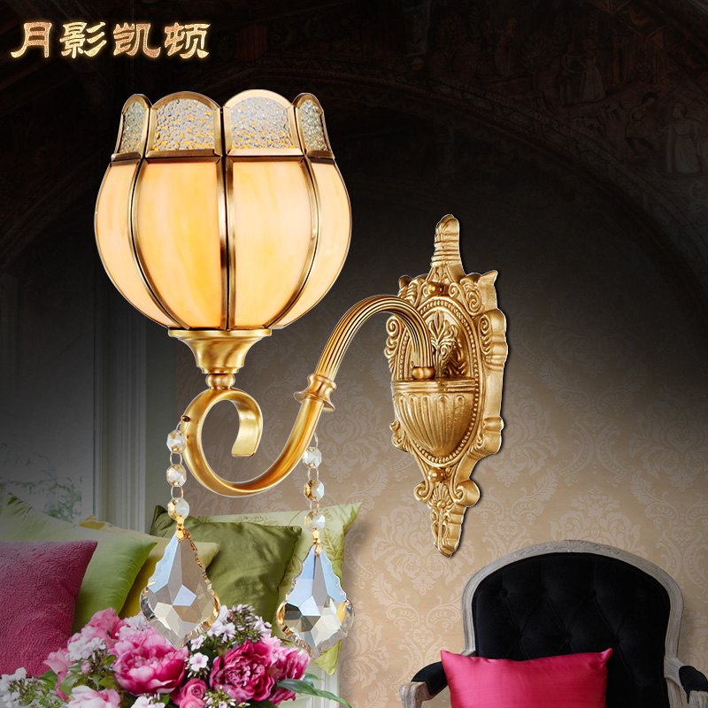 ФОТО Won't copper wall lamp fashion bedroom bedside lamp brief american style living room wall lamp crystal wall lamp