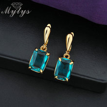 Mytys Fashion GP Prong Setting Square Blue Crystal Drop Earrings For Women 2017 New Arrival CE147