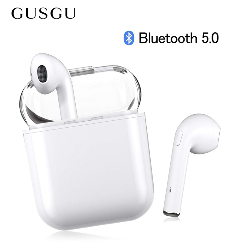 GUSGU Bluetooth 5.0 Earphone With Mic TWS Wireless earbuds Stereo Earphones with Charger Box for iPhone Mini TWS Bluetooth 5.0 m9 tws wireless earphones wireless bluetooth earphone with mic super mini earbuds metal charge case for xiaomi for huawei