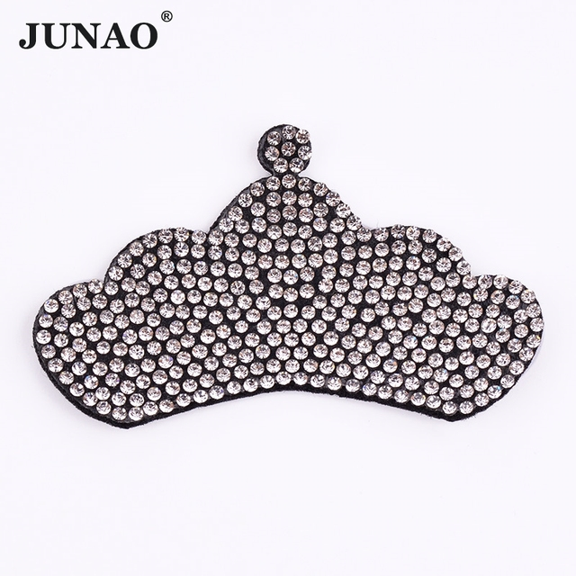 75*45mm Clear White Crown Crystal Patches Glass Rhinestones Motifs Hotfix Strass Iron On Patch Glue On Crystals for Clothing