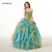H&S BRIDAL Mixed Colored Cheap Organza Ball Gown Prom Dresses Quinceanera dresses sweet 16 robe de soiree quinceanera gowns
