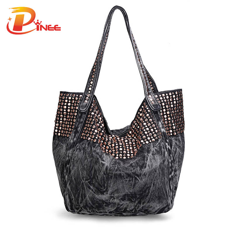 ФОТО Fashion Denim Jean Bags Female Jeans Shoulder Bags Rivet Women Tote Bags Bolsas Bucket Bag