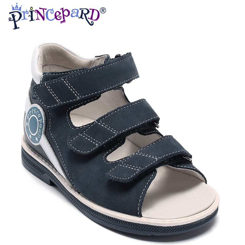 PRINCEPARD genuine Leather navy low ankle Sandals for boys Orthopedic Shoes for kids orthopedic Sandals