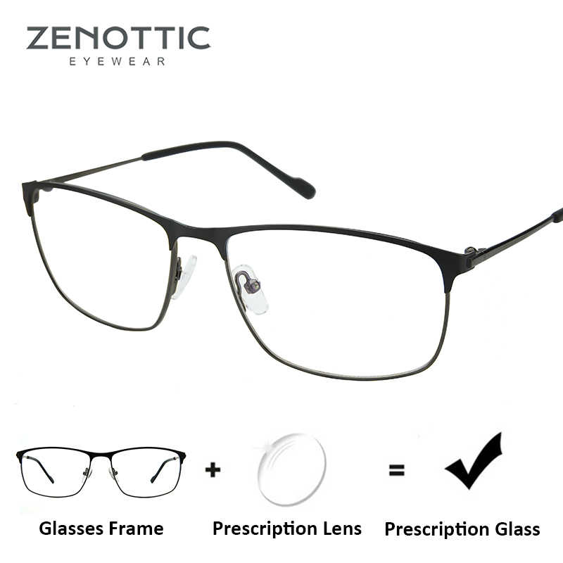 5ce2e6f490e ZENOTTIC Metal Square Prescription Glasses For Men Frame Optical Myopia  Hyperopia Eyewear Photochromic Anti-Blue