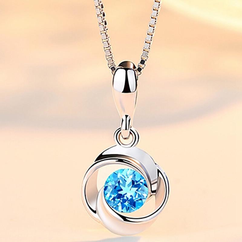 Blue Stone Pendants Crystal...