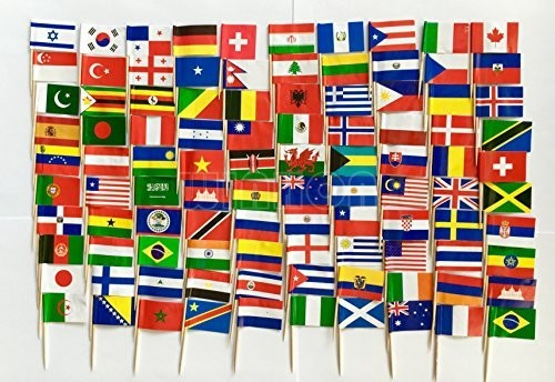 World Flag Toothpick Box of 100 Toothpicks Country Flags Dinner Cake Toothpicks Cupcake Decoration Fruit Cocktail Sticks Party(China)