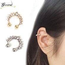 Punk Crystal Ear Cuff Clip Earrings For Men Women Fashion Jewelry Bijoux Gift Oorbellen Brincos No Piercing Earring