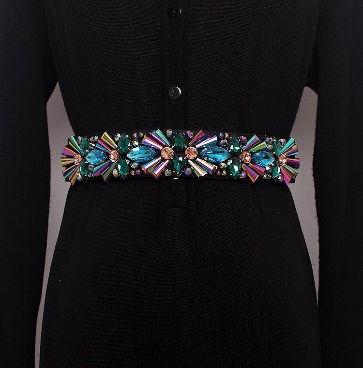 Women's Runway Fashion Rhinestone Beaded Elastic Cummerbunds Female Dress Corsets Waistband Belts Decoration Wide Belt R1160