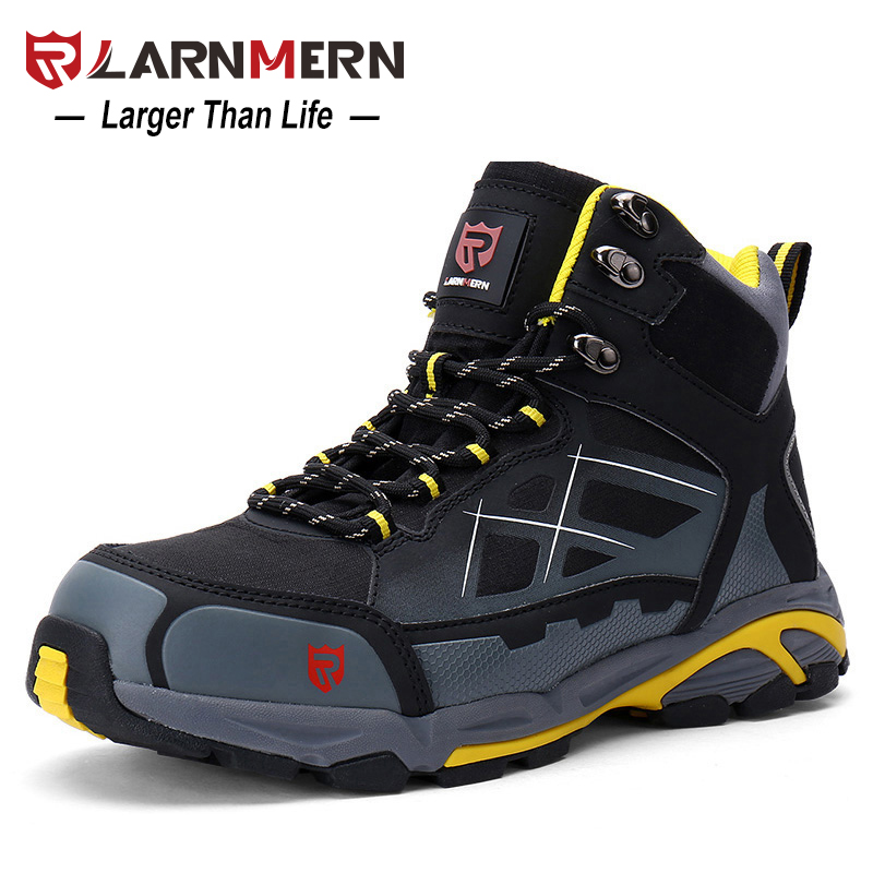 LARNMERN Mens Work Boots Steel Toe Safety Shoes S1P Outdoor Safety Sneakers SRC Non-slip Anti-static Puncture Proof halinfer men s anti static non slip ankle boots outdoor steel toe cap work