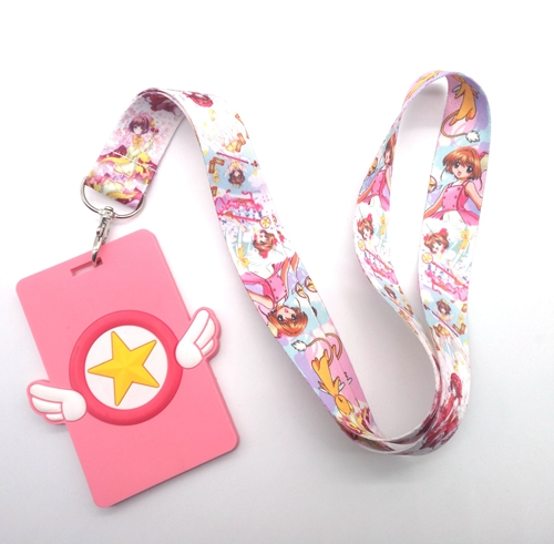 New  Retail 1 Pcs  Soft Silicone Anime Card Captor Sakura  Sign Card ID Holder  With Hanging String Keychain T05