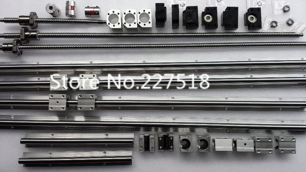 6 juegos SBR16 SBR20 carril de guía lineal + tornillos de bola RM1605 SFU1605 tornillos de bola + BK/BF12 + carcasa de tuerca + acopladores para piezas CNC