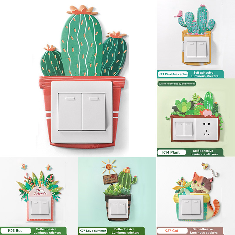 Waterproof Fluorescent Glow Cactus Wall Home Decoration Sticker Luminous PU Switch Protective Cover Kids Room Bedroom Decor