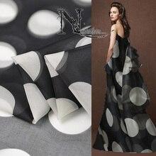 c3d6a3e1f4a1aa High-end custom 100% Zijde Organza black   white Print Stof Voor Zomer Jurk  Jas 114 cm breed 8 momme Mode doek Voor DIY Naaien