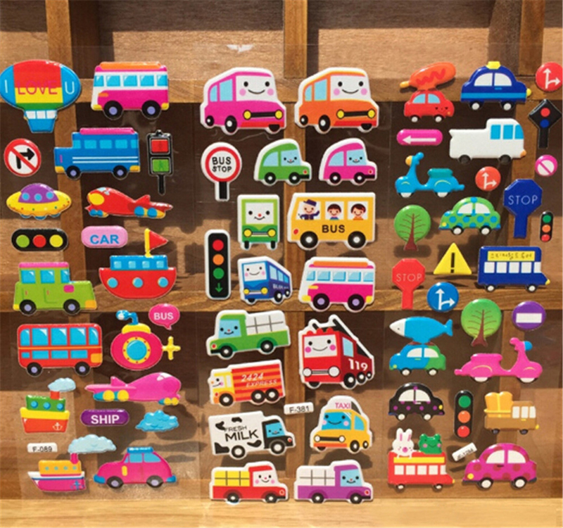 5PCS /lot Cartoon Bubble Stickers Transport Cars Children Kids Girls&Boys Mixed Cartoon Stickers Decoration Christmas Gift