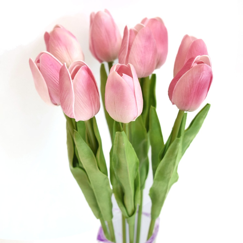 High Quality PU Latex Flower Wholesale 13.7\u002639;\u002639;Mini Artificial Tulip 8 Pcs Real Touch Tulip
