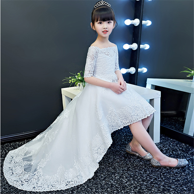 2018 New Luxury Children Girls Pure White Color Princess Lace Trailing Dress Kids Birthday Wedding Evening Party Dance Dress 2017 new high quality girls children white color princess dress kids baby birthday wedding party lace dress with bow knot design