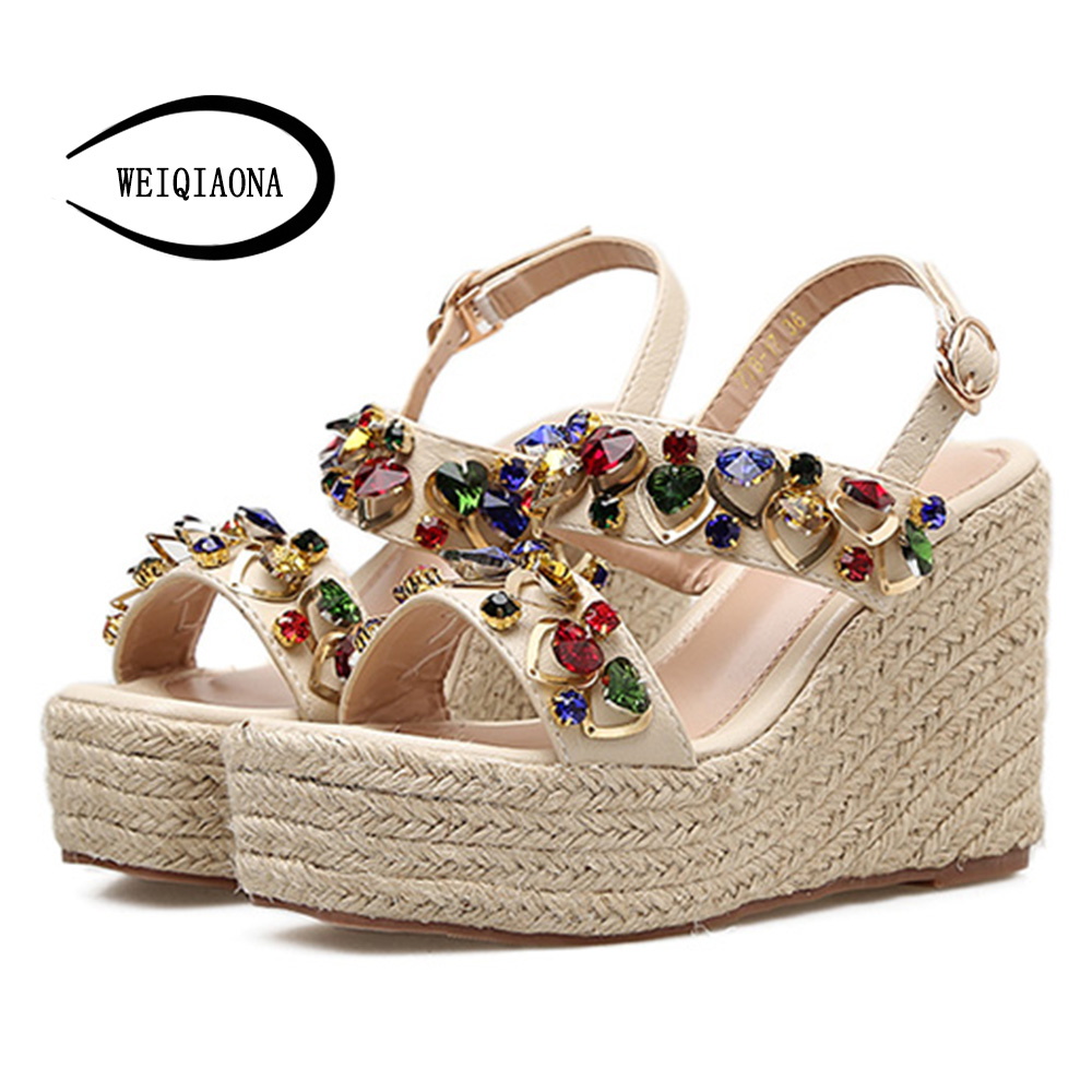 WEIQIAONA 2018 New Hot Sale Fashion Summer Women Colorful crystal Sandals High Waterproof Platform Expose Toe Sexy Casual shose