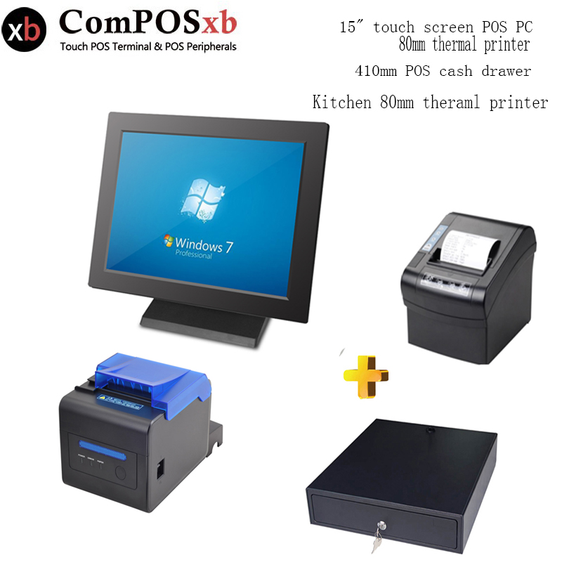 Cash register 15 inch pos with Kitchen printer Cash drawer Sales terminal for restaurant all in one pos pos all in one nice quality hot sales 12 inch touch cash register pos machine 58mm receipt printer cash drawer barcode scanner