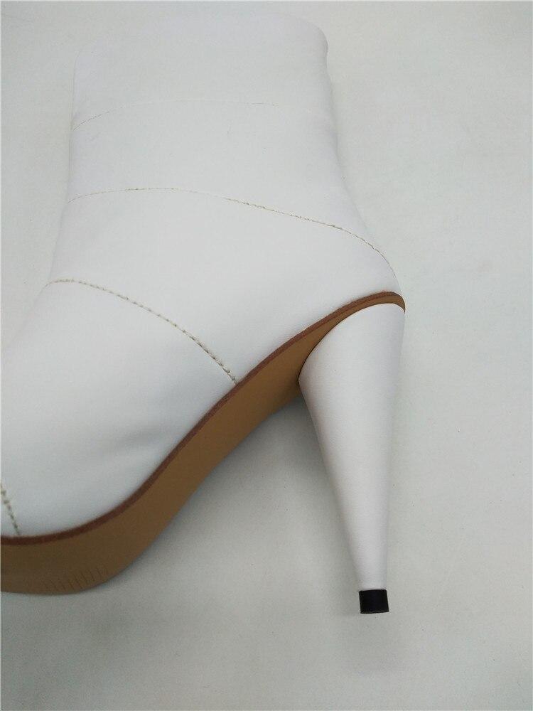 mollet Femmes Chaussures Type Boot Vraie Haute Talons Mi Image Toe Pointu V Moto Bottes Hoof Marque Blanc Date D'équitation 0Cwqq5