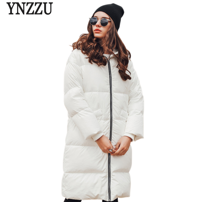 YNZZU Brand New Fashion Winter Womens Down Jackets Casual Long 90% White Duck Down Coat Thickning Warm Hooded Snow Parkas YO445
