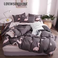 LOVINSUNSHINE Quilt Cover Set Bed Sheets And Pillowcase Pink Flamingo Design Linings Quilted Comforter AB#79