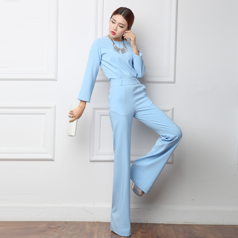2018 Spring Office Lady Women One Piece Outfits Jumpsuits Long Sleeve Loose Wide Leg Pants Sexy Bule Yellow Rompers Playsuit