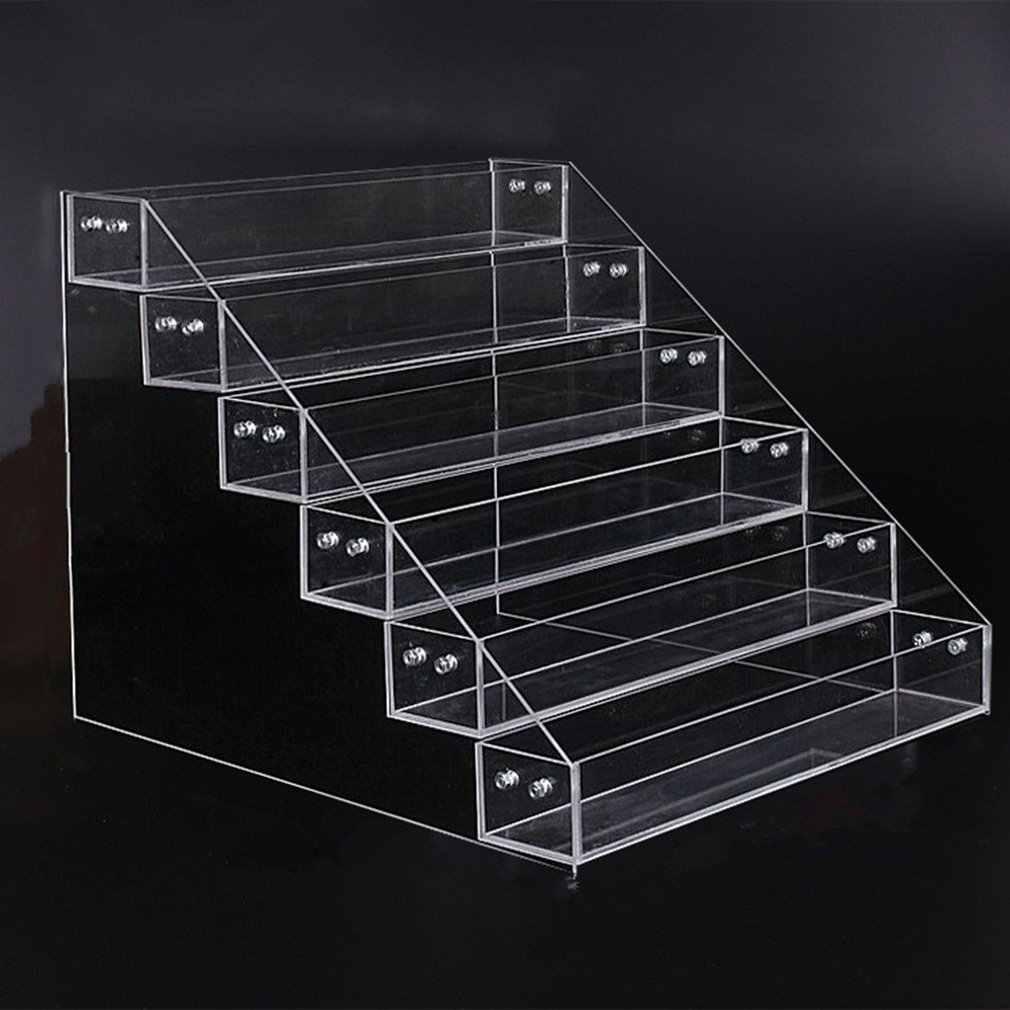 เล็บอะคริลิคขาตั้ง 4-5-6-7 ชั้นพลาสติกชั้นโปร่งใสหน้ากากกรอบลิปสติกจอแสดงผลเครื่องสำอาง